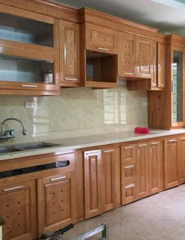 Tủ bếp inox 201 cánh gỗ sồi Nga