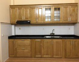 tủ bếp inox 304 cánh gỗ sồi Nga