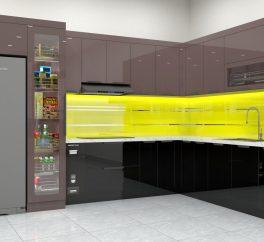 tủ bếp inox cánh kính